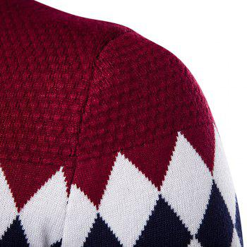 Autumn Winter Men Fashion Diamond Grid V-Neck Knit Sweater - WINE RED WINE RED