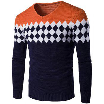 Autumn Winter Men Fashion Diamond Grid V-Neck Knit Sweater - ORANGE STRIPES ORANGE STRIPES