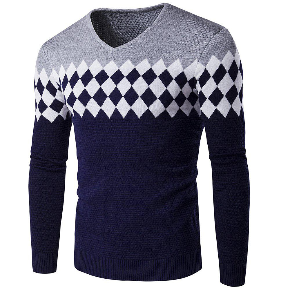 Autumn Winter Men Fashion Diamond Grid V-Neck Knit Sweater - GRAY XL