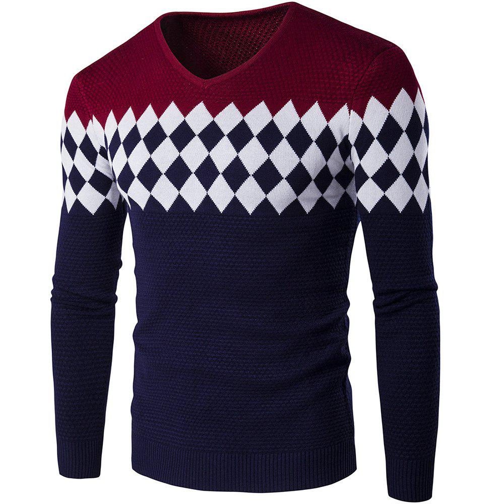 Autumn Winter Men Fashion Diamond Grid V-Neck Knit Sweater - WINE RED XL