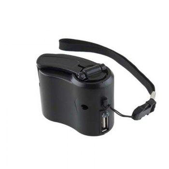 Charger for Mobile Phone MP3 MP4 Travel Cell USB Hand Crank Manual Dynamo Emergency - BLACK