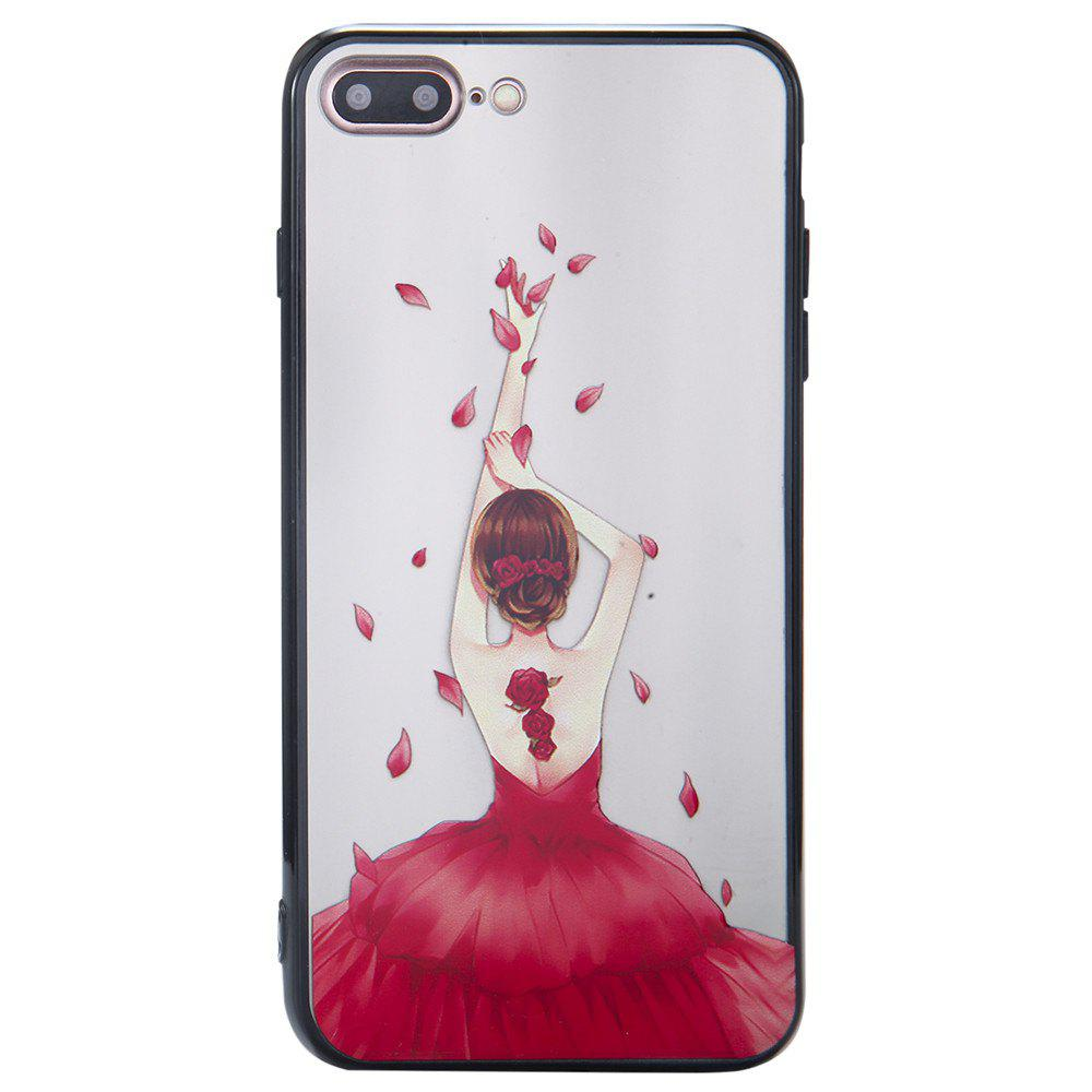 Case for iPhone 8 Plus Non-slip Embossed Back of Rose Girl Pattern - RED