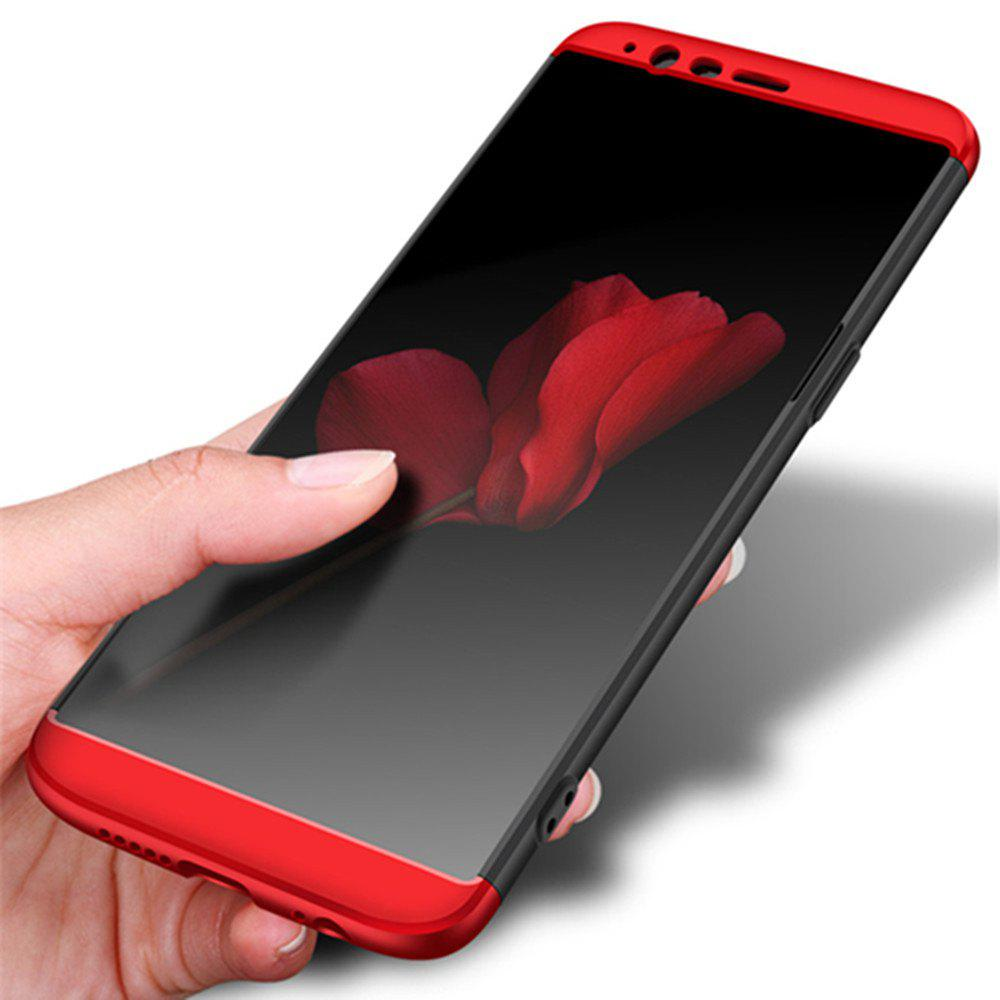 Cover Case for One Plus 5T 360 Degree Full Protection  Hard PC 3 in 1 Fundas Coque Back - BLACK / RED