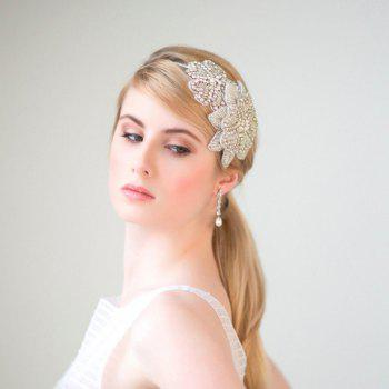 White Lace Flower with Crystal Headband for Wedding Party Girl - WHITE