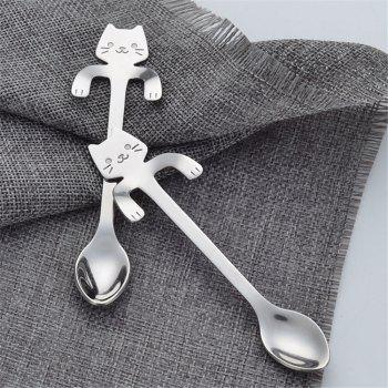 1PCS Stainless Steel Cartoon Cat Spoon Creative Coffee Spoon Ice Cream Candy Teaspoon Kitchen Supplies Tableware 5 Color - GOLDEN