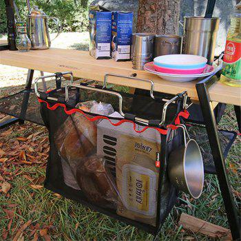 Outdoor Camping Wire Rack Portable Storage Bag Picnic Table Barbecue Kit Kitchen Miscellaneous Net Set - BLACK