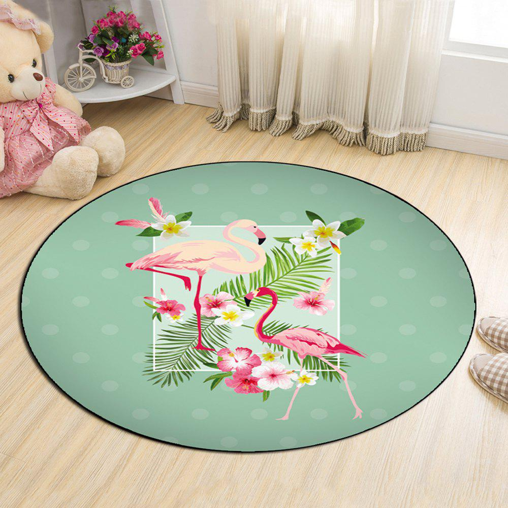 Bathroom Antiskid Mat Fresh Style Lovely Flamingo Pattern Round Floor Mat
