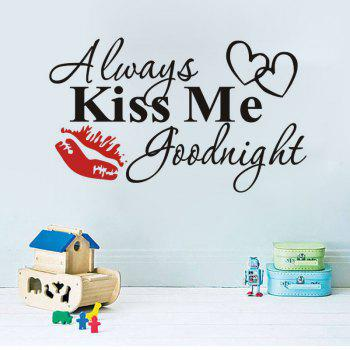 Wall Stickersr Valentines Day New  Red Lips Always Kiss Me Can Remove  Decal Art Deco - BLACK