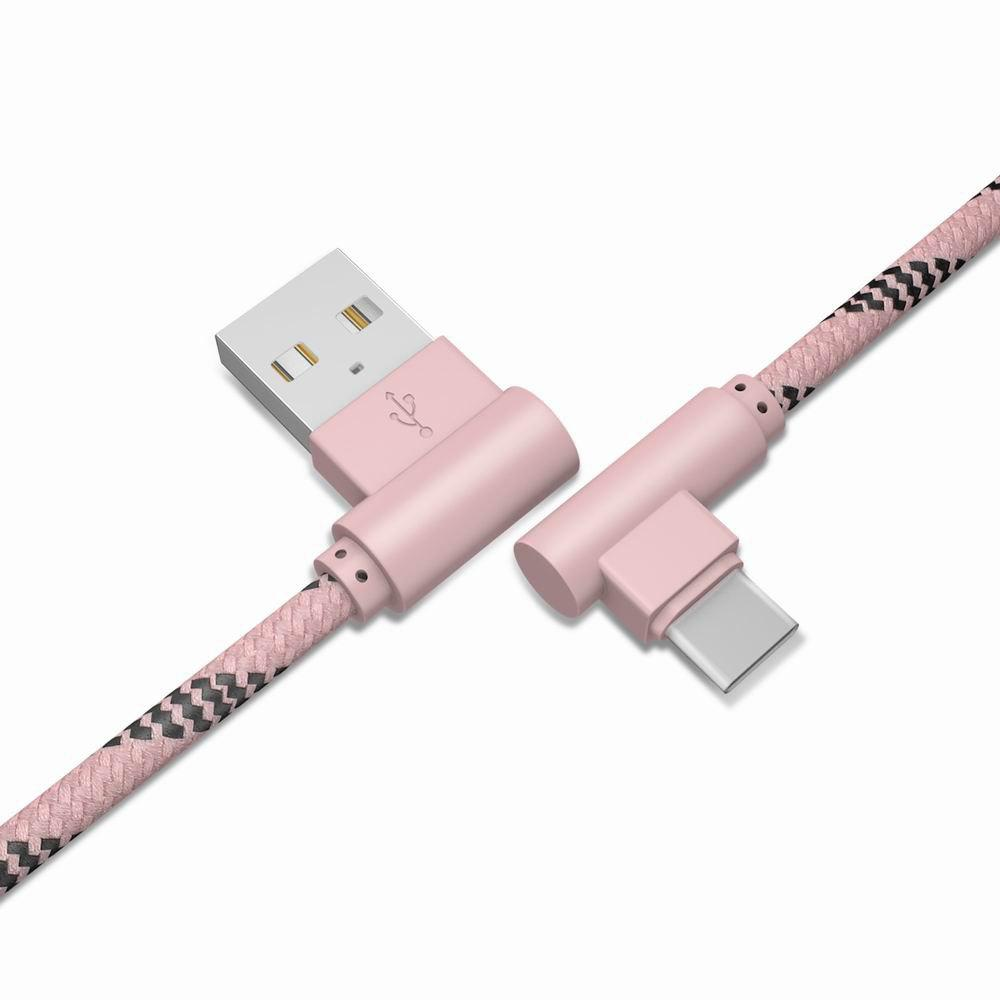 1M Type-C Cable Charge For Samsung S8 Plus Xiaomi 90 Degree  Cable For Oneplus 5t Huawei - PINK