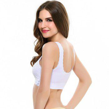 Front Button with Lace Movement Without Steel Ring Yoga Sleep Bra - WHITE M