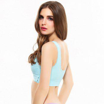 Front Button with Lace Movement Without Steel Ring Yoga Sleep Bra - BLUE M