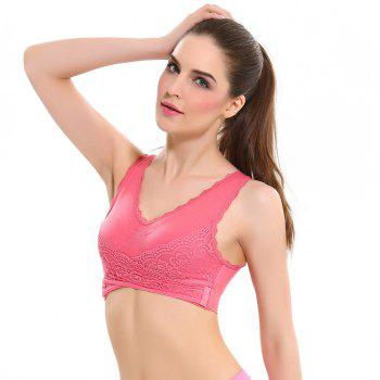Front Button with Lace Movement Without Steel Ring Yoga Sleep Bra - RED XL