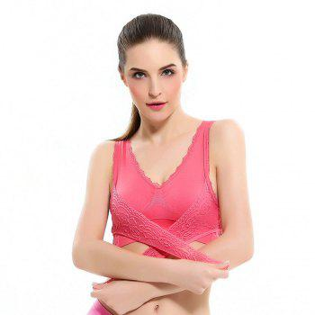 Front Button with Lace Movement Without Steel Ring Yoga Sleep Bra - RED M