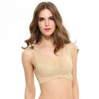 Front Button with Lace Movement Without Steel Ring Yoga Sleep Bra - COMPLEXION XL