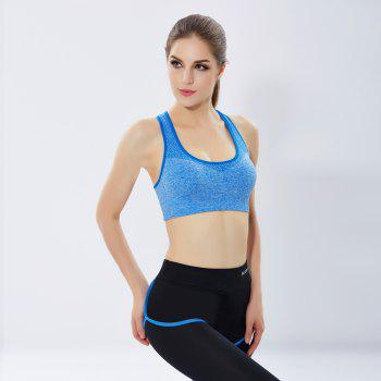 Women'S Professional Running Fitness Yoga Pants No Steel Ring Vest Shockproof Sports Bra Suit - BLUE S