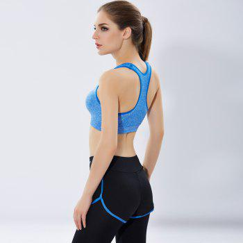 Women'S Professional Running Fitness Yoga Pants No Steel Ring Vest Shockproof Sports Bra Suit - BLUE L