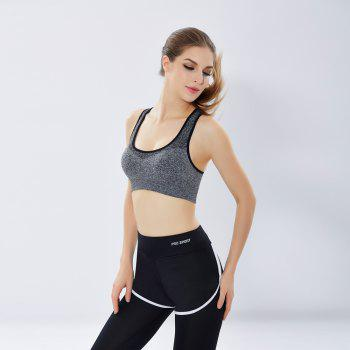 Women'S Professional Running Fitness Yoga Pants No Steel Ring Vest Shockproof Sports Bra Suit - GRAY M