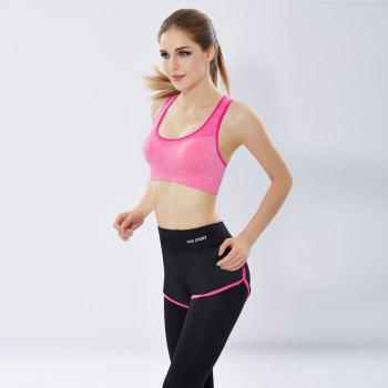 Women'S Professional Running Fitness Yoga Pants No Steel Ring Vest Shockproof Sports Bra Suit - ROSE RED L