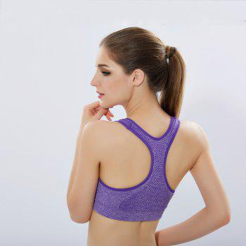 Women'S Professional Running Fitness Yoga Pants No Steel Ring Vest Shockproof Sports Bra Suit - PURPLE L