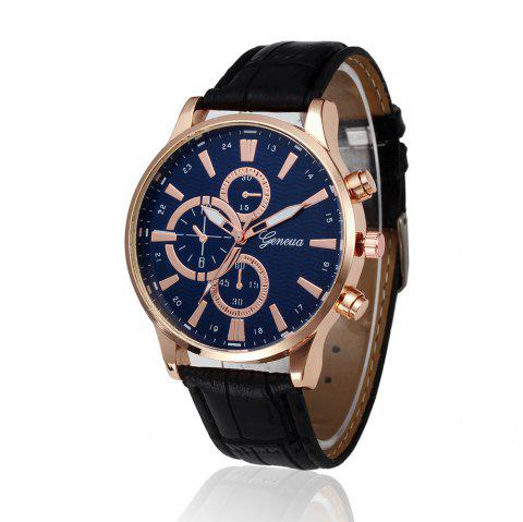 Fashion Date Watch With Men'S Leather Watch Business Casual Watches - BLACK