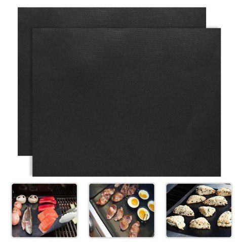 BBQ Grill Mat Pad Baking Sheet Meshes Portable Reusable Non-Stick Outdoor Picnic Cooking Barbecue Tool 2pcs - BLACK 40 X 33CM