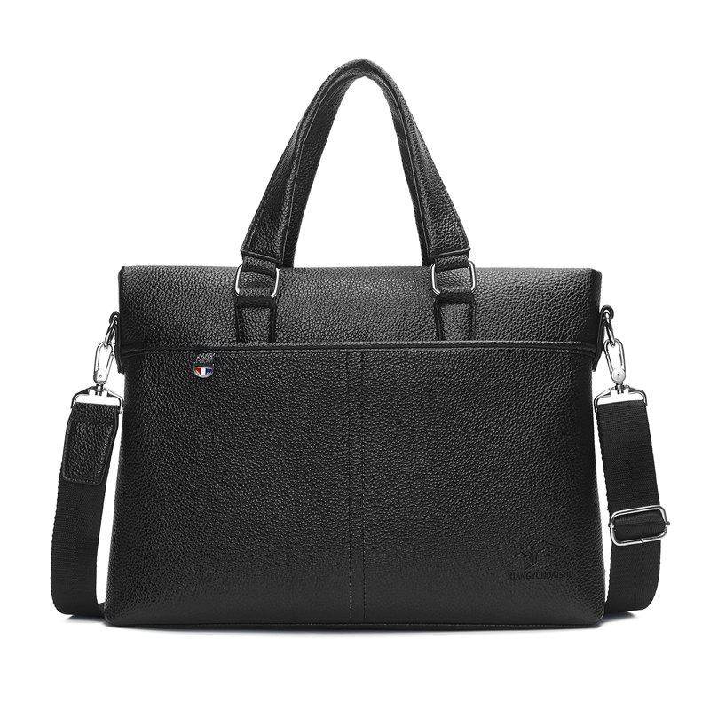 Litchi Grain Men'S Business Briefcase Handbag - BLACK HORIZONTAL