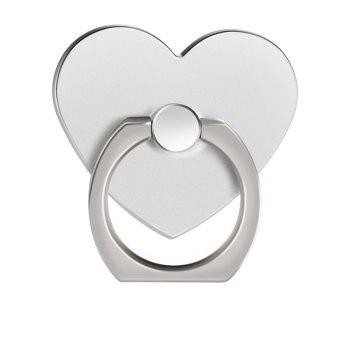 360 Degree Rotating Heart Shape Cell Phone Finger Ring Holder Stand - SILVER SILVER