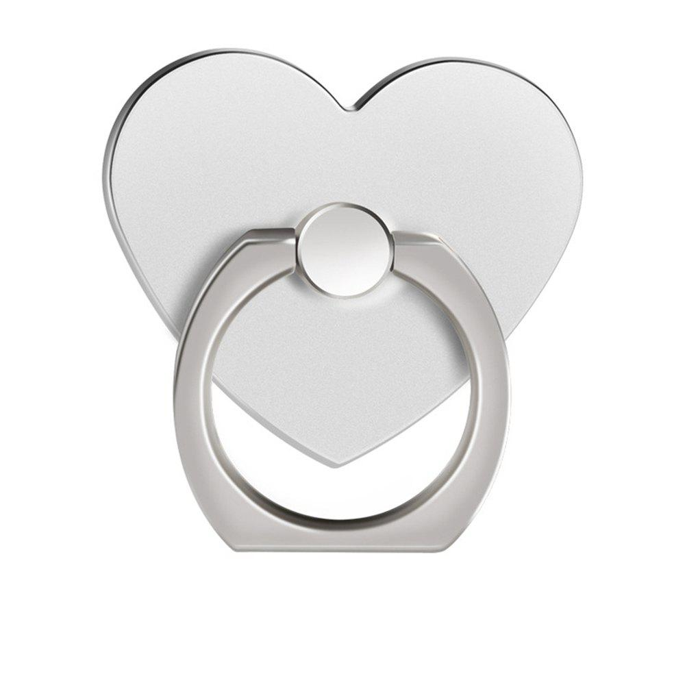 360 Degree Rotating Heart Shape Cell Phone Finger Ring Holder Stand - SILVER