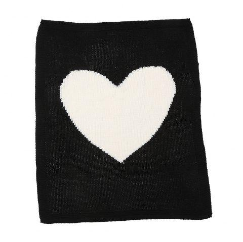 Child Blanketboys and Girls Knitted Blanket Love Wool Quilts - BLACK