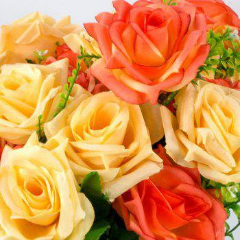 Artificial Flower Vivid Rose Bouquet Home Decorative Display - YELLOW/RED YELLOW/RED