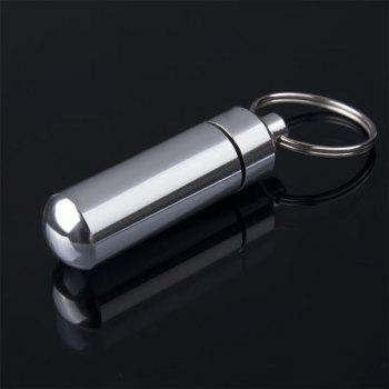 Key Holder Aluminum Waterproof Pill Shaped Box Bottle Holder Container Keychain Medicine Keyring Box - SILVER