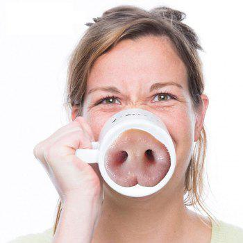 Creative Funny Pig Nose Mug -  WHITE