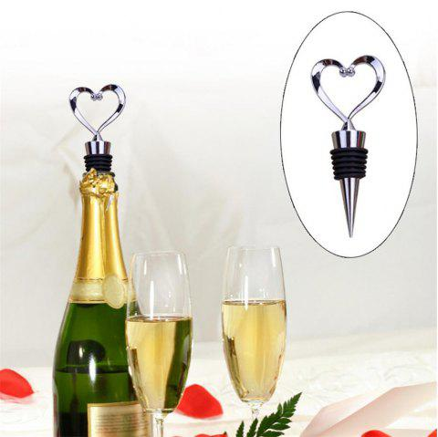 High Quality Zinc Alloy Love Shape Wine Cork Champagne Corkscrew Wedding Gift Bartender Bar Tools - SILVER