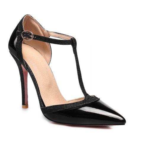Sexy High Heels and Pointed A word buckle Slip-On Ladies Shoes - BLACK 39