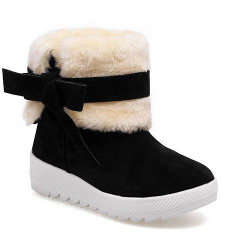 Bowknot Ankle Women Suede Ugg Boots - BLACK 40