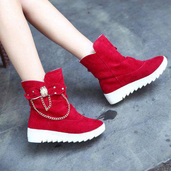 Black Bowknot Women'S Slip-On Suede Ankle Boots - RED 36