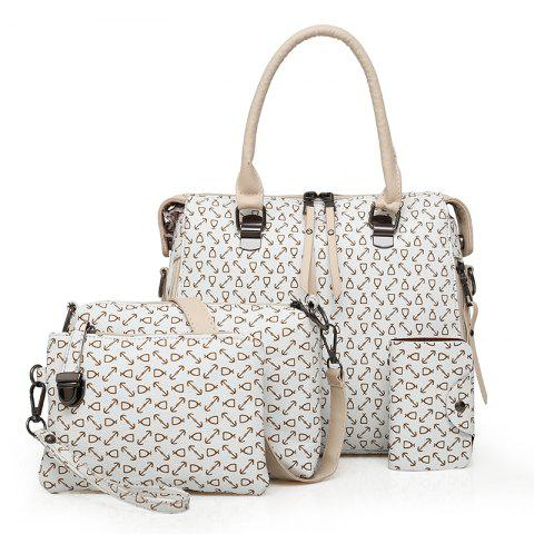 New Trendy Fashion Wild Shoulder Messenger Hand-Held Four Pieces Hit Color Handbags - WHITE