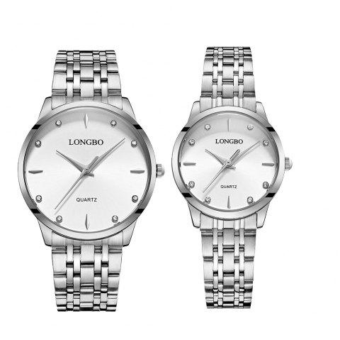 LONGBO 80322 1221 Fashion Leisure Simple Steel Belt Waterproof Couple Quartz Watch - SILVER BAND WHITE DIAL