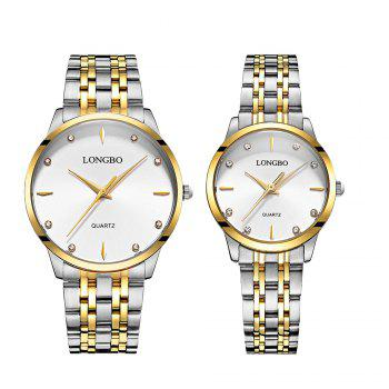LONGBO 80322 1221 Fashion Leisure Simple Steel Belt Waterproof Couple Quartz Watch - WHITE WHITE