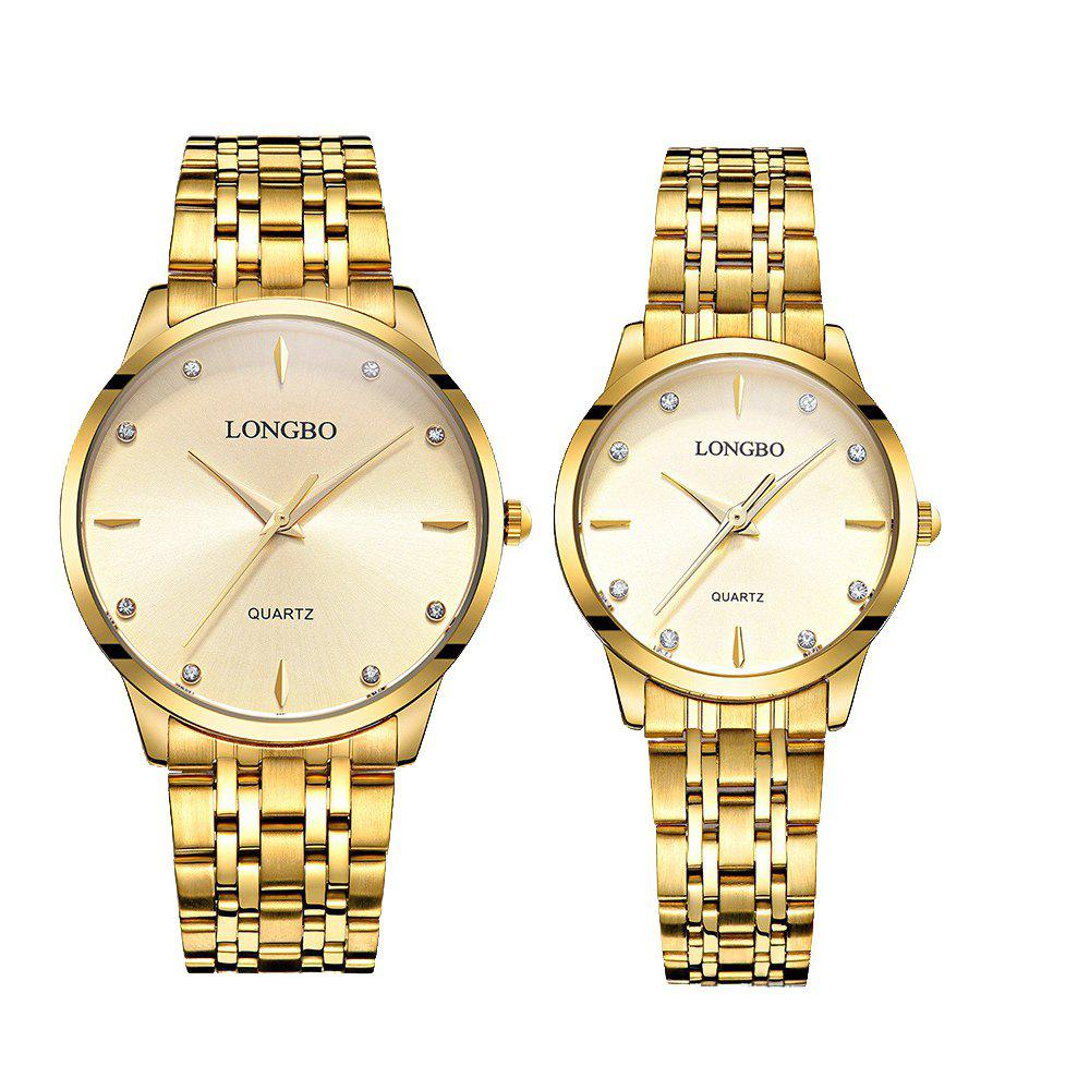 LONGBO 80322 1221 Fashion Leisure Simple Steel Belt Waterproof Couple Quartz Watch - GOLDEN BAND GOLDEN DIAL