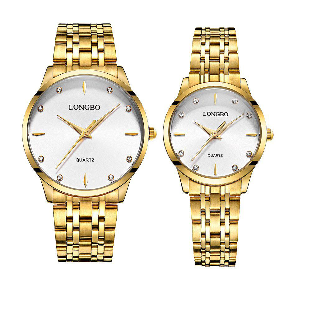 LONGBO 80322 1221 Fashion Leisure Simple Steel Belt Waterproof Couple Quartz Watch - GOLDEN BAND WHITE DIAL