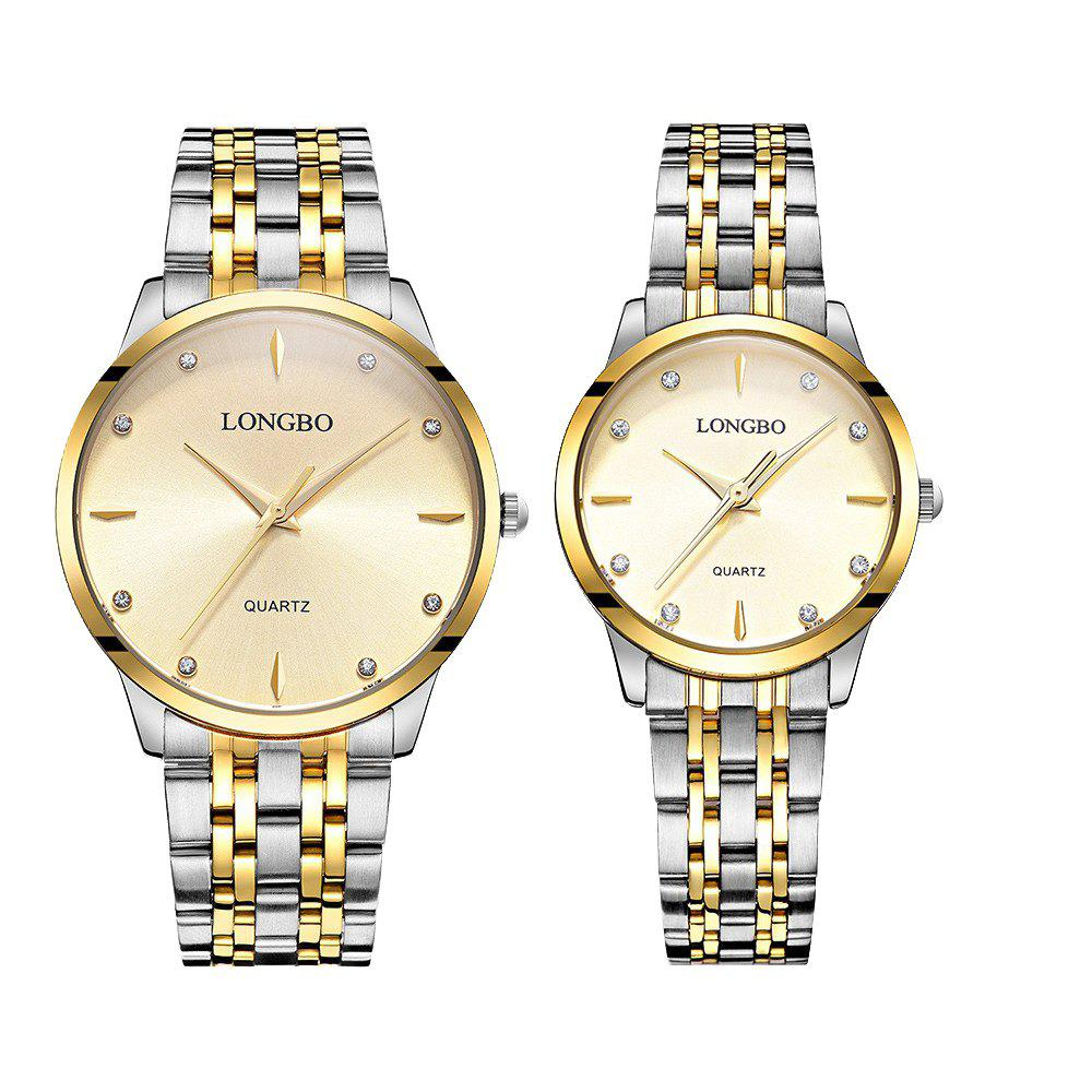 LONGBO 80322 1221 Fashion Leisure Simple Steel Belt Waterproof Couple Quartz Watch - GOLDEN