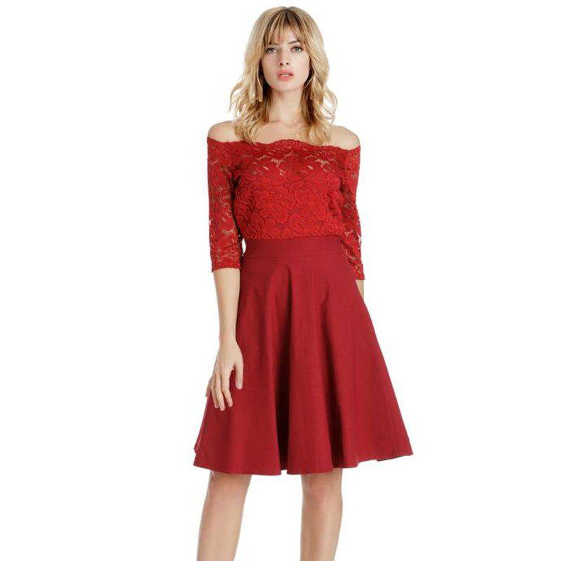 2018 Printemps Off épaule robes en dentelle - Rouge M
