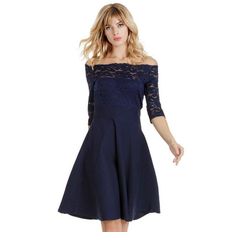 2018 Spring Off Shoulder Lace Dresses - CADETBLUE M