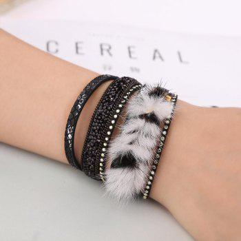 GS035 Woman Korean Velvet Fluffy Winding Bracelet - BLACK