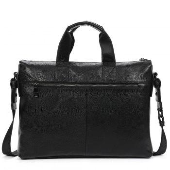 DANJUE Business Briefcase Men Genuine Leather Gentleman Brand Real Leather Handbag Men'S Totes Laptop Shoulder Bag - BLACK