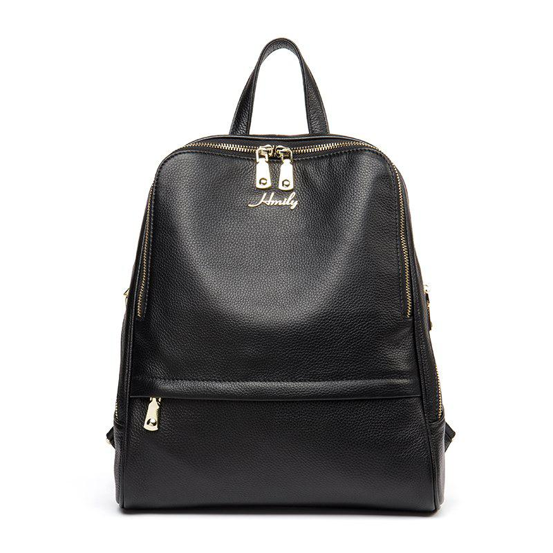 HMILY Backpack Women 100% Genuine Leather School Bag Ladies Travel Back Pack Leisure Trendy Daily Solid Color Fashion - BLACK