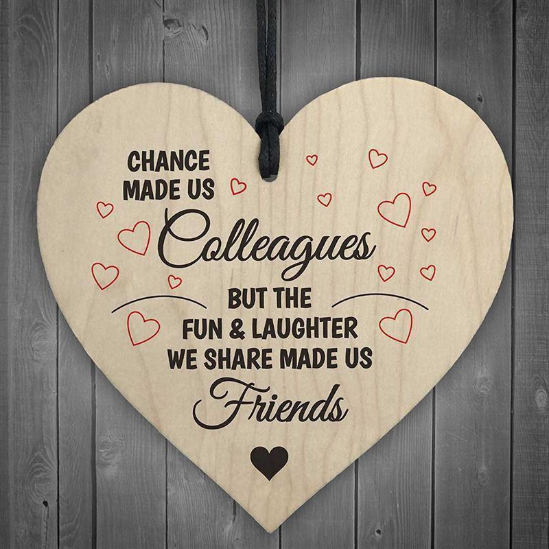 Chance Made Us Colleagues Heart Sign Friendship Gift Sign Chic Heart Birthday Wooden Craftwork - BURLYWOOD 1