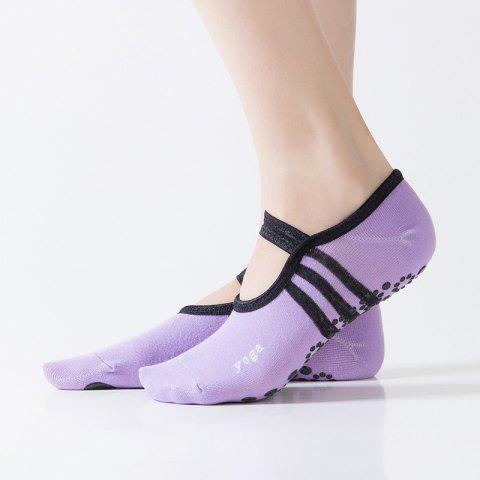 Women Breathable Pilates Yoga Non Slip Grip Cotton Ballet Dance Sport Massage Ankle Socks - PURPLE