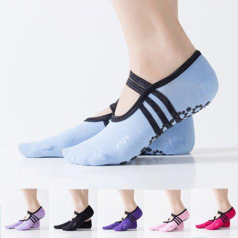 Women Breathable Pilates Yoga Non Slip Grip Cotton Ballet Dance Sport Massage Ankle Socks - LIGHT BLUE